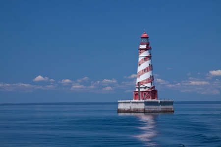 red and white: Red  White Striped Offshore Lighthouse