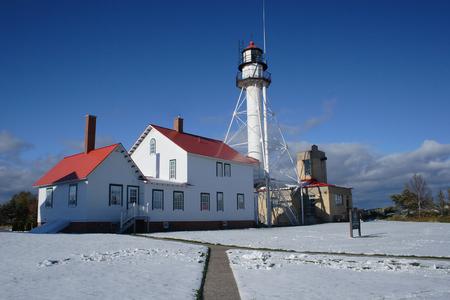whitefish: Whitefish Point Lighthouse Stock Photo