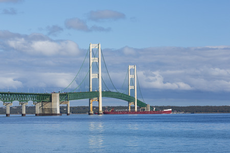 mackinac: Big Mackinac Bridge  Ship