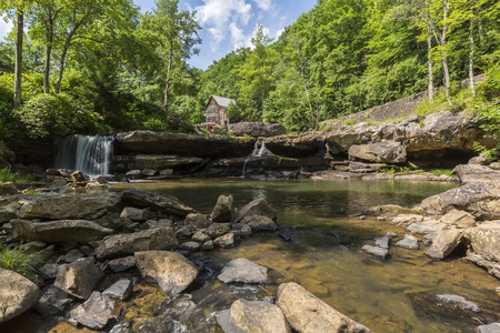 grist: An old grist mill along a creek.