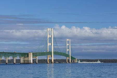 mackinac: Big Mackinac Bridge and Ship