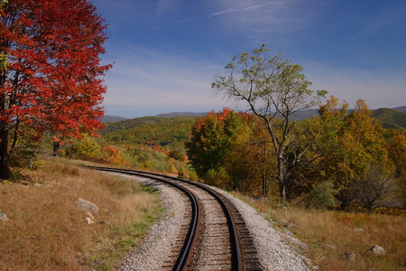 narrow gauge railroads: Fall Railroad Track Scenic Stock Photo