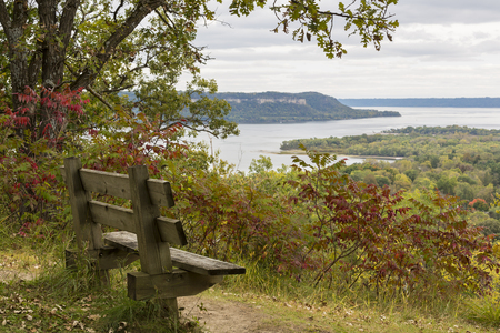 Park Bench Overlooking The Mississippi River