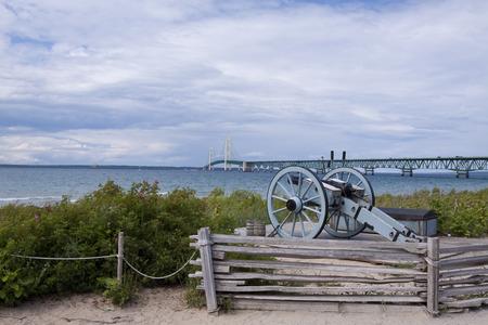 mackinac: Big Mackinac Bridge with Cannon Stock Photo