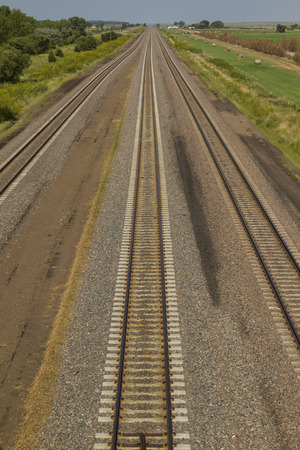mainline: Railroad Triple Track Mainline Stock Photo