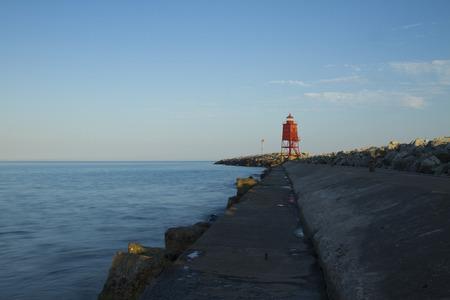 navigation aid: Racine Pier Lighthouse Stock Photo