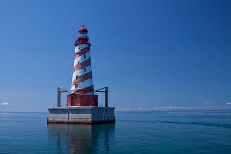 light house: White Shoal Lighthouse Stock Photo