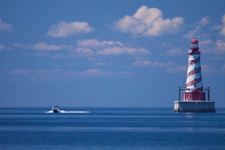 shoal: White Shoal Lighthouse Stock Photo