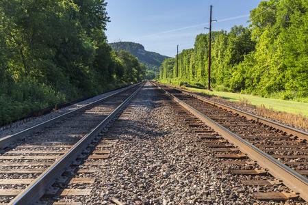 メインライン鉄道複線 写真素材