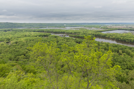 Scenic View of Wisconsin River Emptying Into Mississippi River