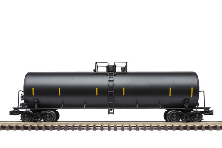 goods train: Railroad Tank Car On Track Stock Photo