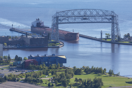 Ship Entering Duluth Harbor