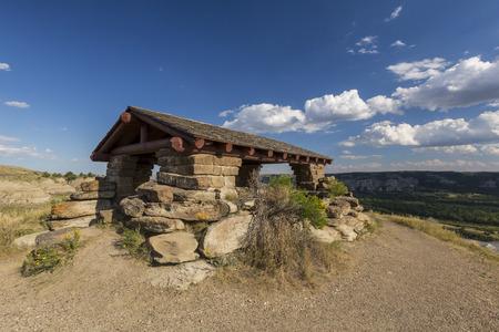 overlook: Badlands Overlook Shelter Stock Photo