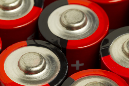 wattage: Red and Black AA Batteries Stock Photo