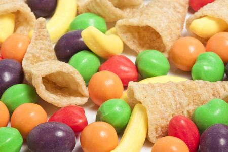 Mini Cornucopias and Candy Stock Photo