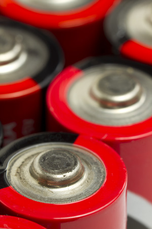 aa: Red and Black AA Batteries Stock Photo