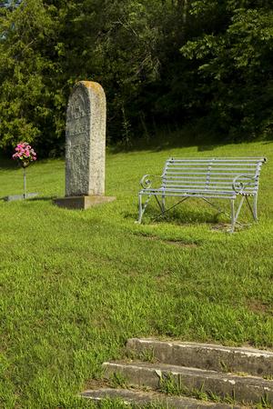 Cemetery Gravestone with Bench
