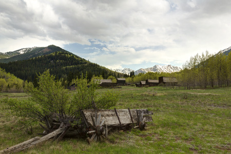 Mountain Ghost Town with Wagon Ruin