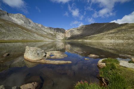 Summit Lake In Colorado Mountains Stock Photo