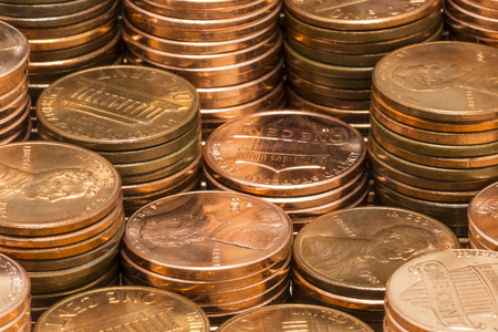 Copper Penny Coin Stacks