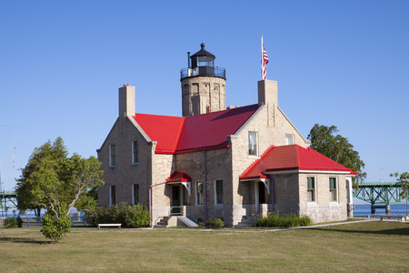 mackinac: Old Mackinac Lighthouse Stock Photo