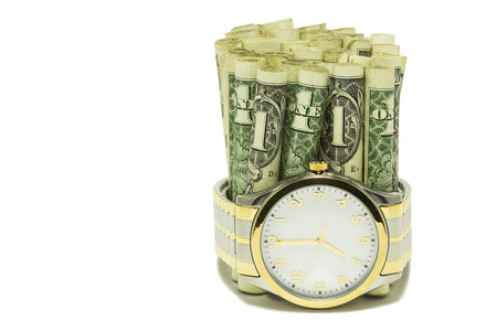 Time Is Money - A watch with dollar bills.