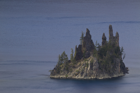 crater lake: Phantom Ship Island  - Crater Lake Stock Photo