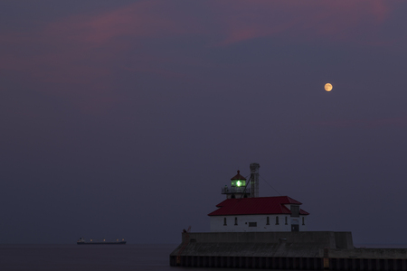 lighted: Duluth South Pier Lighthouse Evening