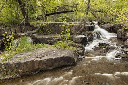 Miller Creek Waterfall & Footbridge Stock Photo