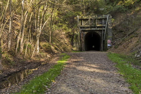 Bike Trail Tunnel - A former railroad line turned bike trail with a tunnel.