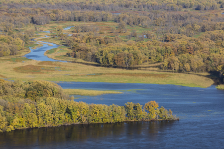 Mississippi River and Backwaters In Autumn Stock Photo