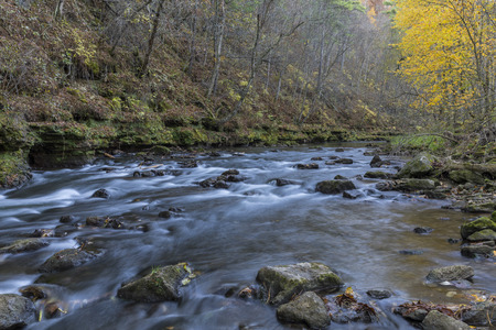 Whitewater River In Autumn Stock Photo