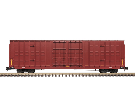Railroad Double Door Box Car On Track Stok Fotoğraf