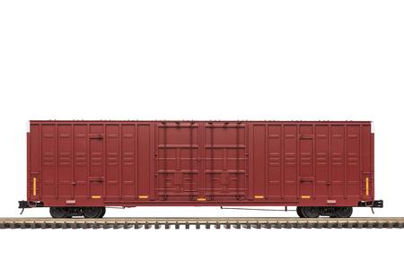 Railroad Double Door Box Car On Track Stockfoto