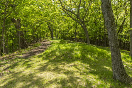 Burial mounds on a sunny day Stock Photo
