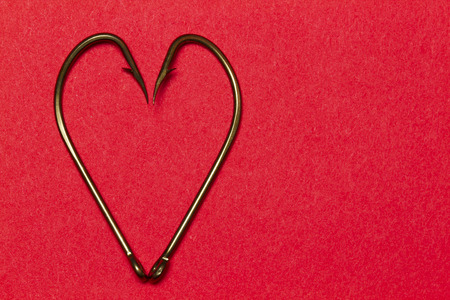 Heart made of fish hooks