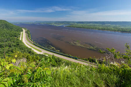 Mississippi River Scenic View with Passenger Train