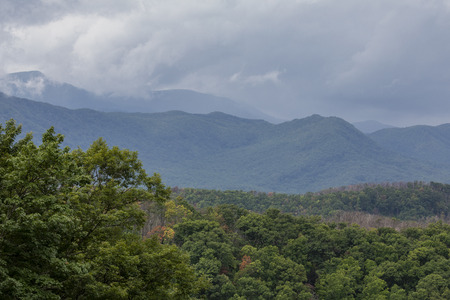 Smoky Mountains scenic landscape with rain storm moving in.