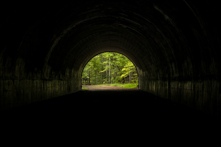 Inside A Tunnel Looking Out Stock Photo