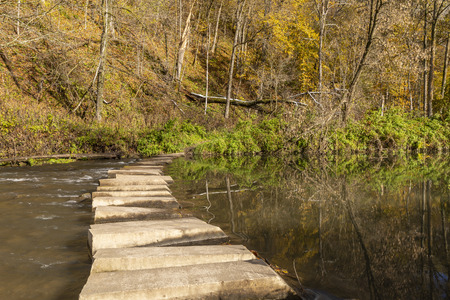 Hiking Trail Crossing River In Autumn