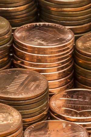 Pennies In Stacks 免版税图像