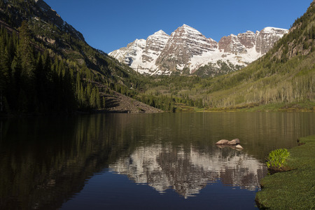 Maroon Bell Mountains with Reflective Lake