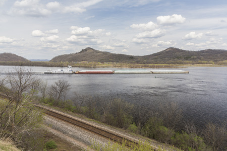 Mississippi River with Barge