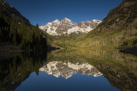 Maroon Bell Mountains and Reflective Lake