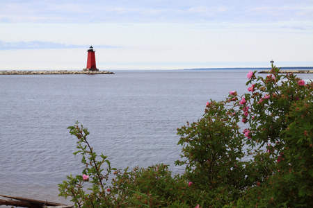 Manistique Breakwater Lighthouse On Lake Michigan
