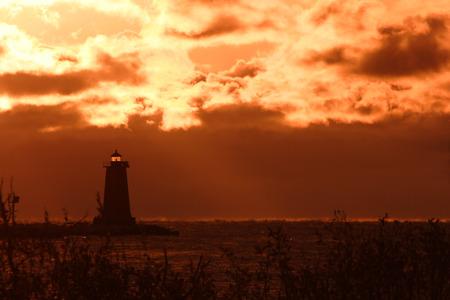 Manistique Breakwater Lighthouse At Sunrise