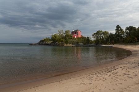 Marquette Harbor Lighthouse with Sandy Beach