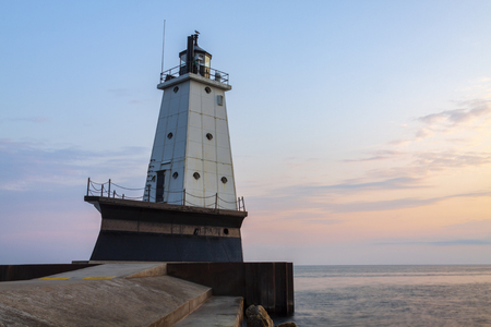 Ludington Pier Lighthouse At Sunset