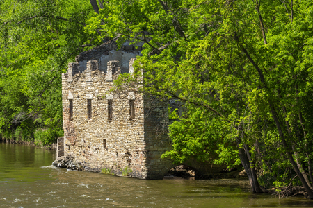 Grist Mill Ruins By A River