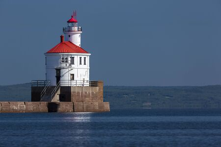 Wisconsin Point Lighthouse On Lake Superior Imagens
